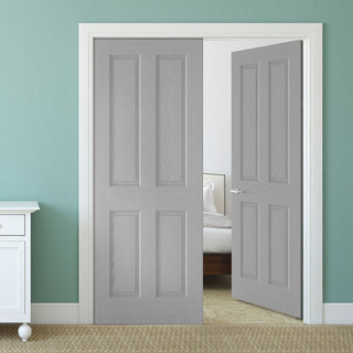 Image: Textured 4 Panel Grey Door Pair - 30 Minute Fire Rated - Prefinished