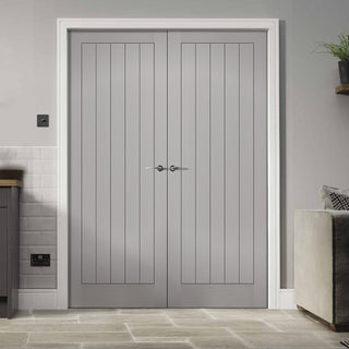 Image: Textured Vertical 5 Panel Grey Fire Door Pair - 30 Minute Fire Rated - Prefinished
