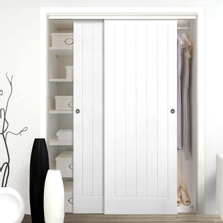Image: Thruslide Textured Vertical 5 Panel 2 Door Wardrobe and Frame Kit
