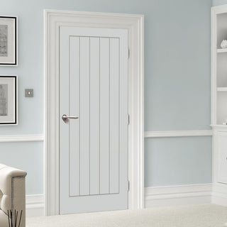 Image: LPD Joinery White Fire Door, Textured Vertical 5 Panel Door - 1/2 Hour Rated - White Primed
