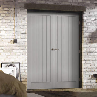 Image: Textured Vertical 5 Panel Grey Door Pair - Prefinished