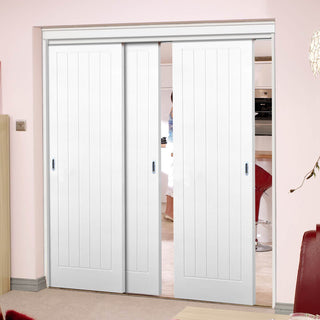 Image: Three Sliding Doors and Frame Kit - Textured Vertical 5 Panel Door - White Primed