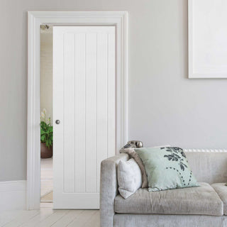 Image: Mexicano Evokit Pocket Fire Door - Vertical Lining - 30 Minute Fire Rated - White Primed