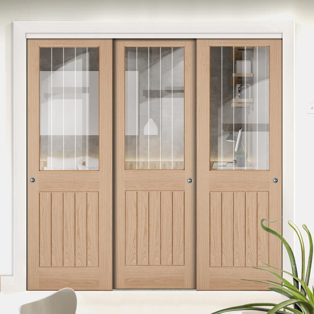 Three Sliding Doors and Frame Kit - Belize Oak Door - Silkscreen Etched Clear Glass - Unfinished
