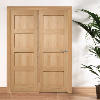 Image: ThruEasi Room Divider - Contemporary 4 Panel Oak Unfinished Door with Single Side - 2018mm High - Multiple Widths