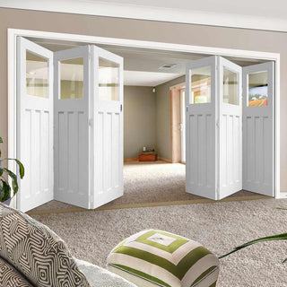 Image: Bespoke Thrufold DX 1930's White Primed Glazed Folding 3+3 Door