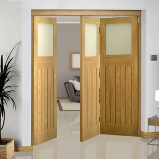 Image: Three Folding Doors & Frame Kit - Cambridge Period Oak 2+1 - Frosted Glass -  Unfinished