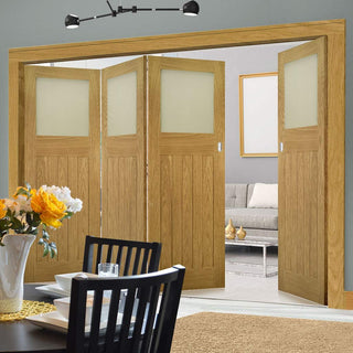 Image: Four Folding Doors & Frame Kit - Cambridge Period Oak 3+1 - Frosted Glass -  Unfinished