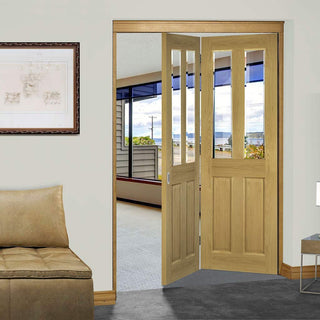 Image: Thrufold Bury Oak 2+0 Folding Door - Clear Bevelled Glass - Prefinished