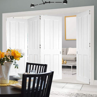 Image: Four Folding Doors & Frame Kit - Eton Victorian Shaker 3+1 - White Primed