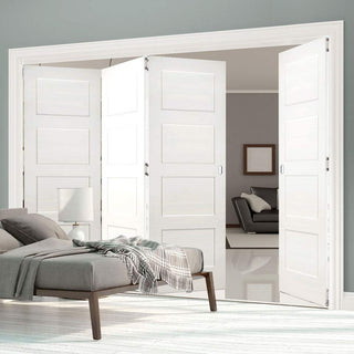 Image: Four Folding Doors & Frame Kit - Coventry Shaker 3+1 - White Primed