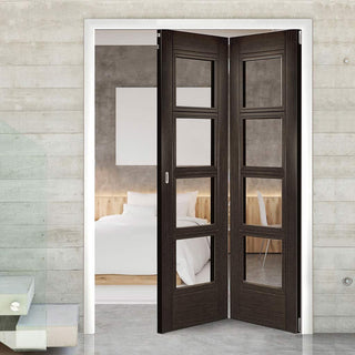Image: Thrufold Montreal Dark Grey Ash 2+0 Folding Door - Clear Glass - Prefinished