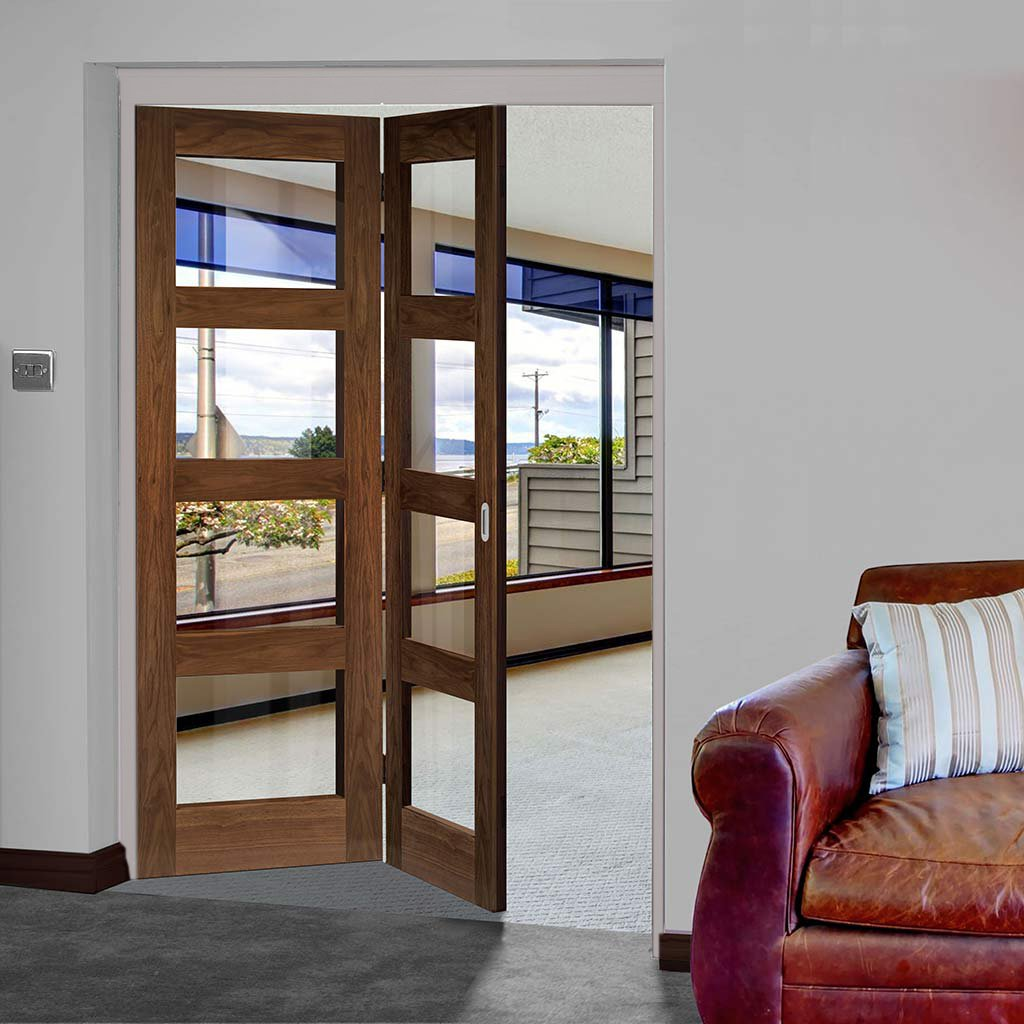 Two Folding Doors & Frame Kit - Coventry Walnut Shaker 2+0 - Clear Glass - Prefinished