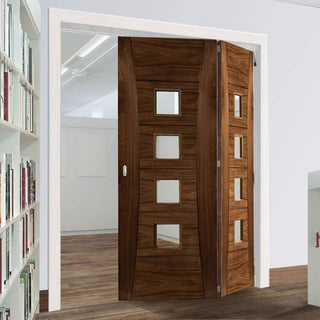 Image: Thrufold Pamplona Walnut 2+0 Folding Door - Clear Glass - Prefinished