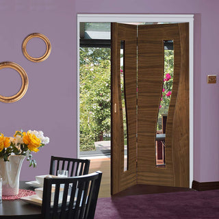 Image: Thrufold Contemporary Cadiz Walnut 2+0 Folding Door - Clear Glass - Prefinished