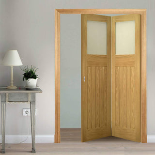 Image: Two Folding Doors & Frame Kit - Cambridge Period Oak 2+0 - Frosted Glass -  Unfinished