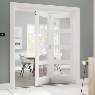 Image: Two Folding Doors & Frame Kit - Coventry Shaker 2+0 - Clear Glass - White Primed