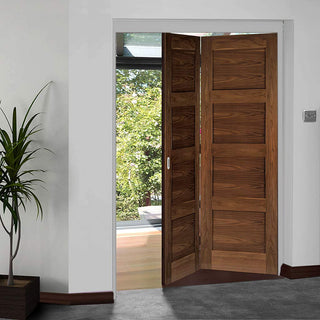 Image: Thrufold Coventry Walnut Shaker 2+0 Folding Door - Prefinished