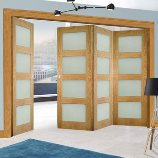 Image: Four Folding Doors & Frame Kit - Coventry Shaker Oak 3+1 - Frosted Glass - Unfinished