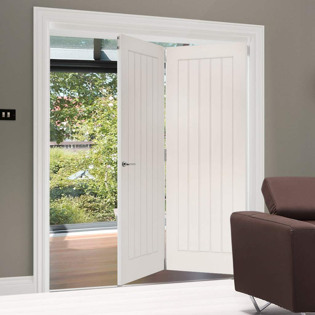Two Folding Doors & Frame Kit - Ely 2+0 - White Primed
