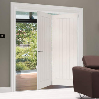 Image: Two Folding Doors & Frame Kit - Ely 2+0 - White Primed