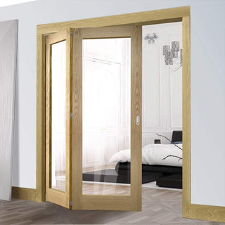 Image: Two Folding Doors & Frame Kit - Walden Oak 2+0 - Clear Glass - Unfinished