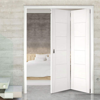 Image: Thrufold Pamplona Flush 2+0 Folding Door - White Primed