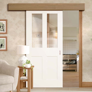 Image: Thruslide Surface Malton Shaker - Sliding Door and Track Kit - Clear Glass - White Primed