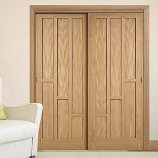 Image: Thruslide Coventry Contemporary Oak Panel 2 Sliding Doors and Frame Kit