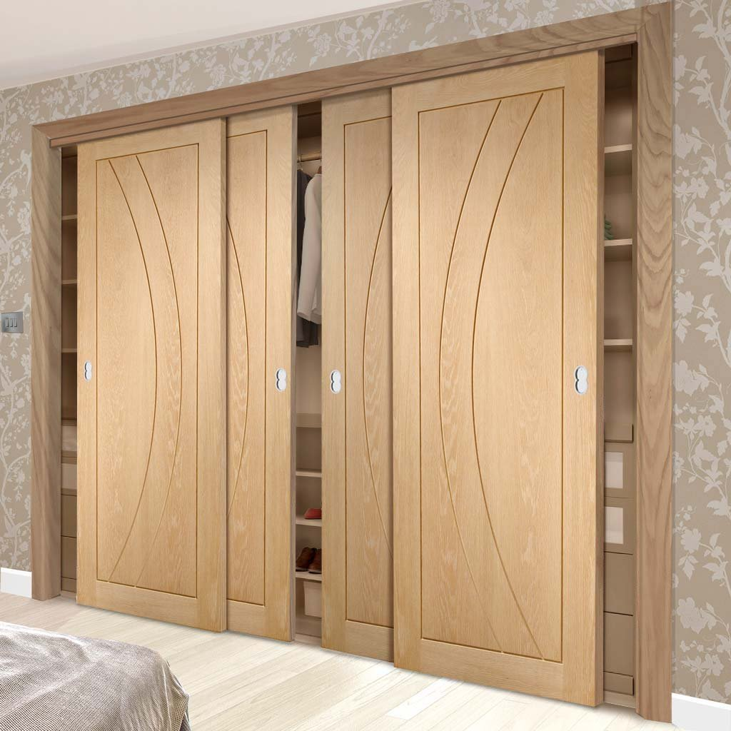 Minimalist Wardrobe Door & Frame Kit - Four Salerno Oak Flush Doors - Prefinished