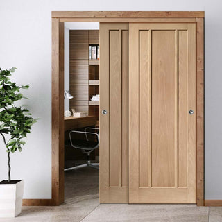 Image: Thruslide Worcester Oak 3 Panel - 2 Sliding Doors and Frame Kit