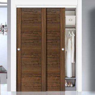 Image: Two Sliding Wardrobe Doors & Frame Kit - Tigris Walnut Door - Prefinished