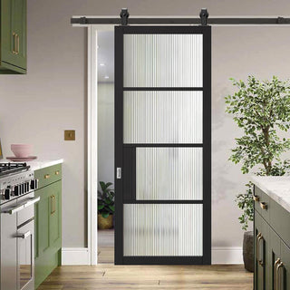Image: Top Mounted Sliding Track & Door - Chelsea 4 Pane Black Primed Door - Reeded Glass