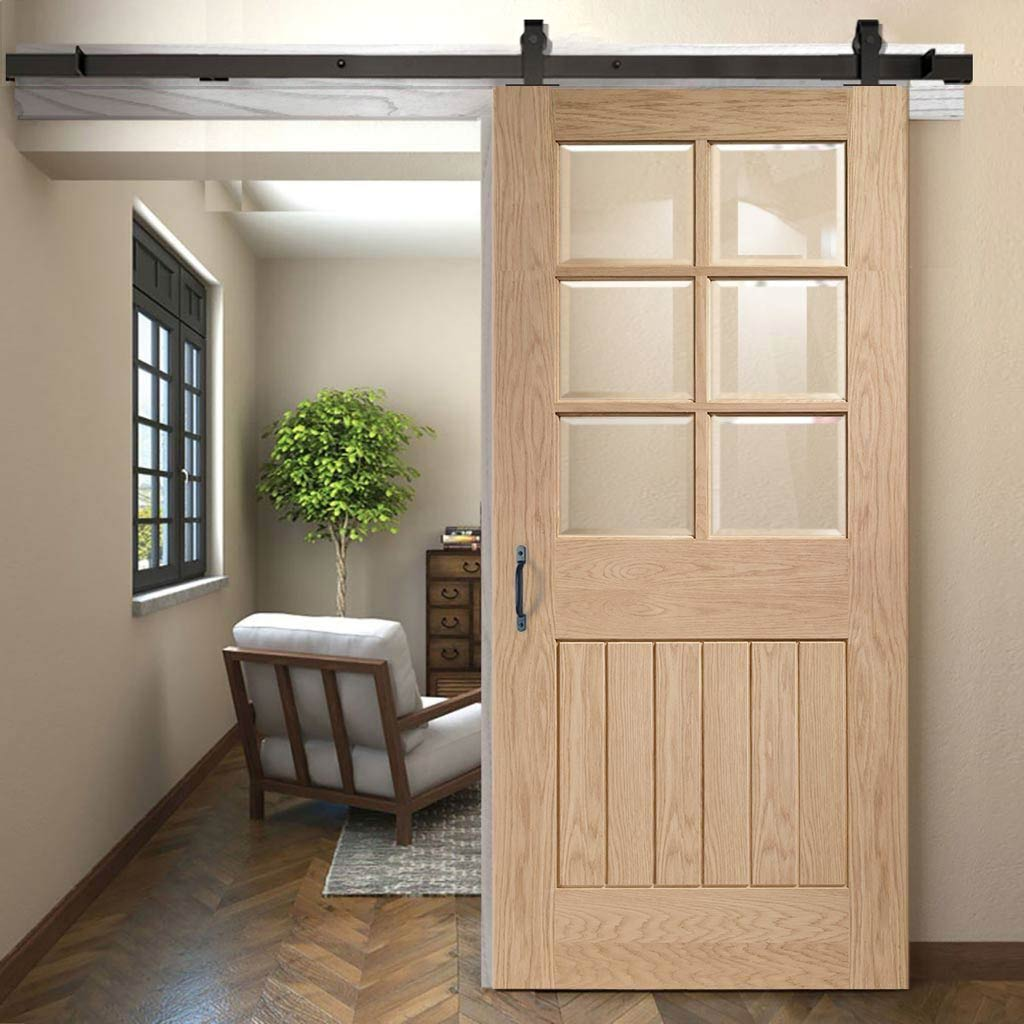 Top Mounted Sliding Track & Door - Suffolk Oak 6 Pane Door - Bevelled Clear Glass - Prefinished