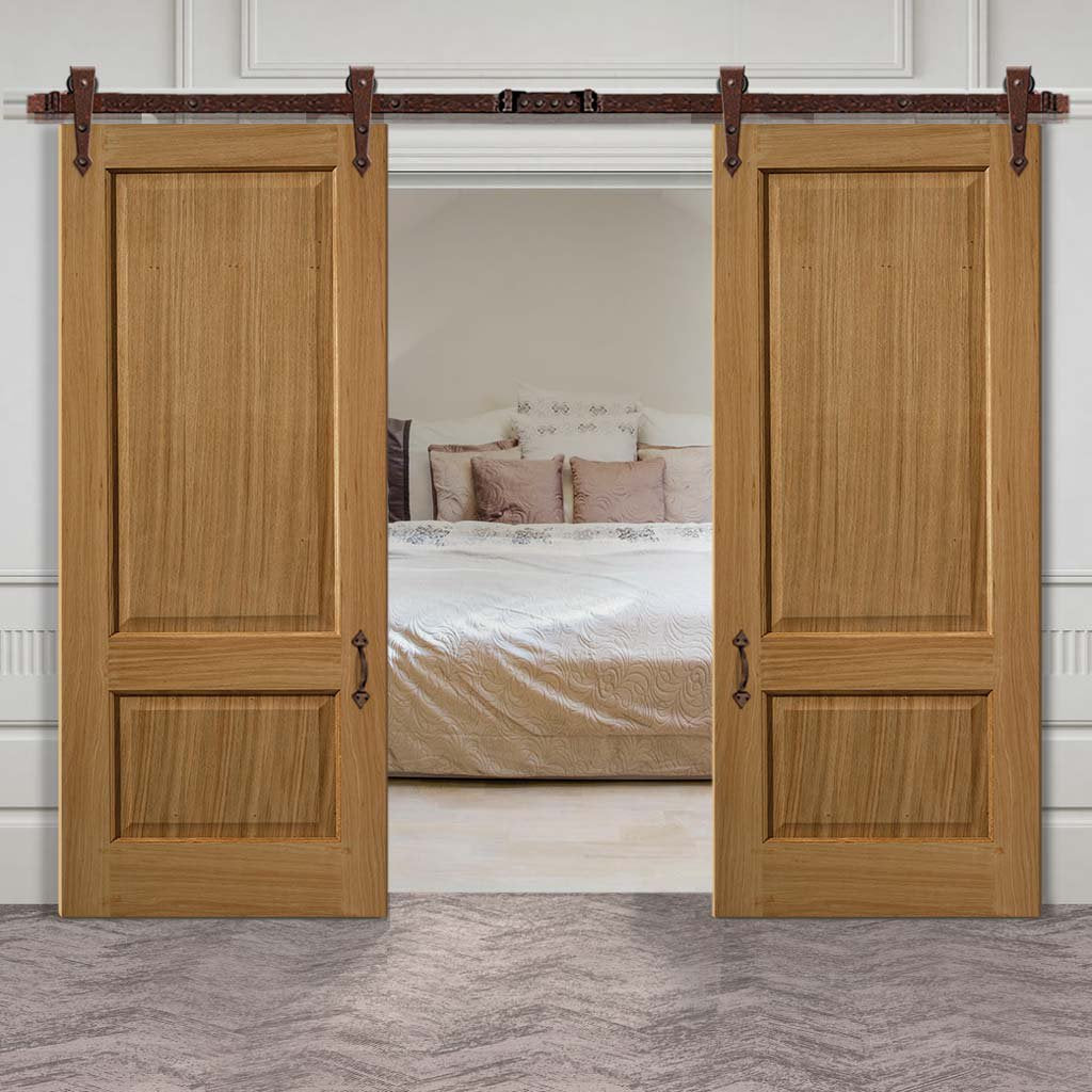 Double Sliding Door & Track - Trent 2 Panel Oak Doors - Prefinished