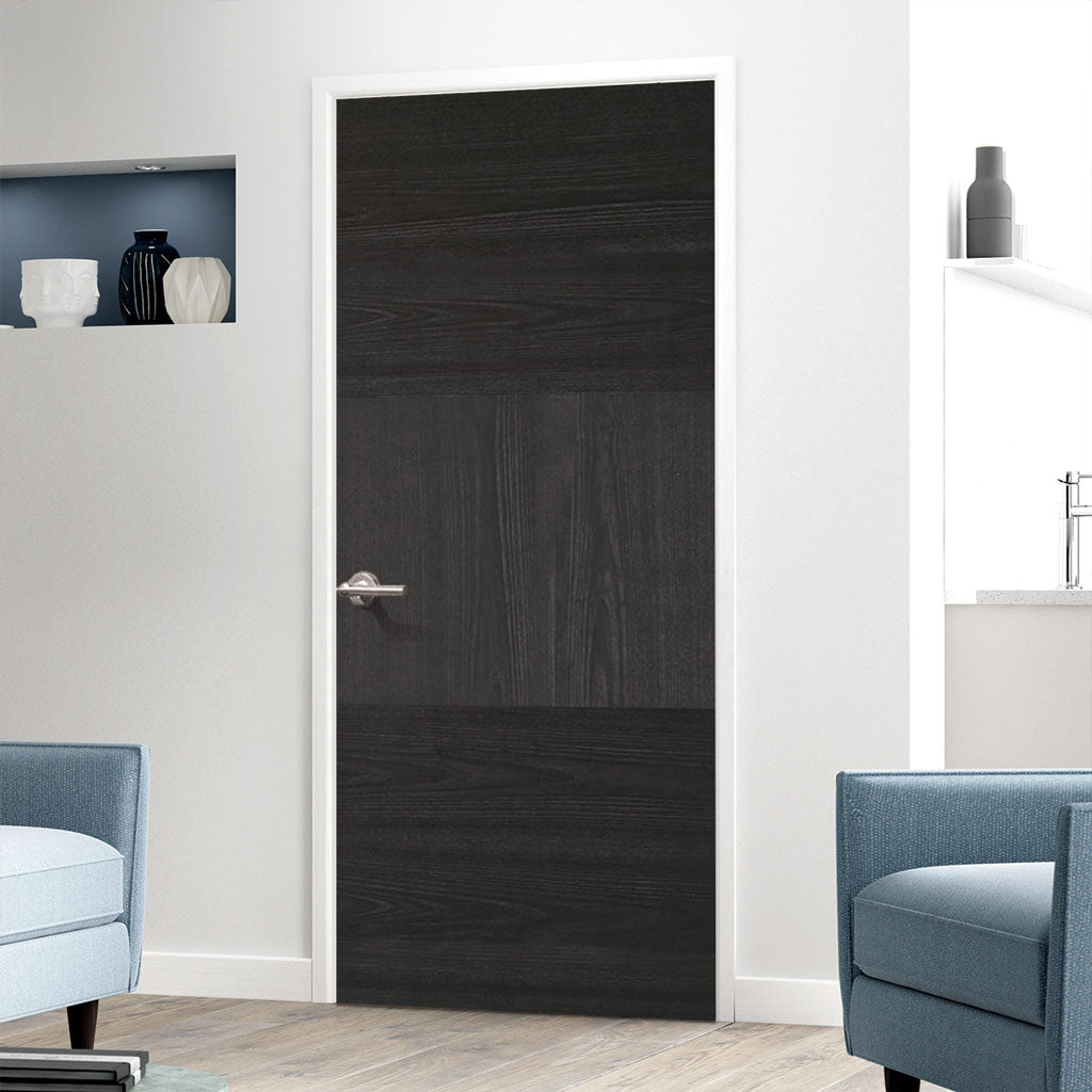 Tres Charcoal Black Flush Fire Door - 30 Minute Fire Rated - Prefinished