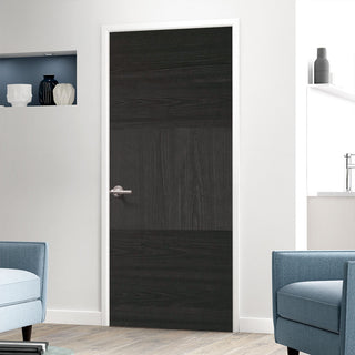 Image: Tres Charcoal Black Flush Fire Door - 30 Minute Fire Rated - Prefinished