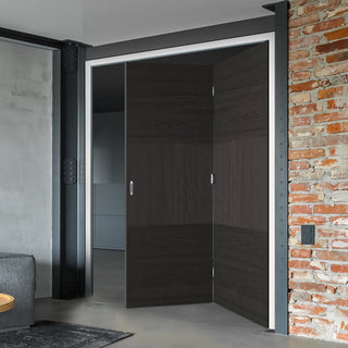 Image: Two Folding Doors & Frame Kit - Tres Charcoal Black Flush 2+0 - Prefinished