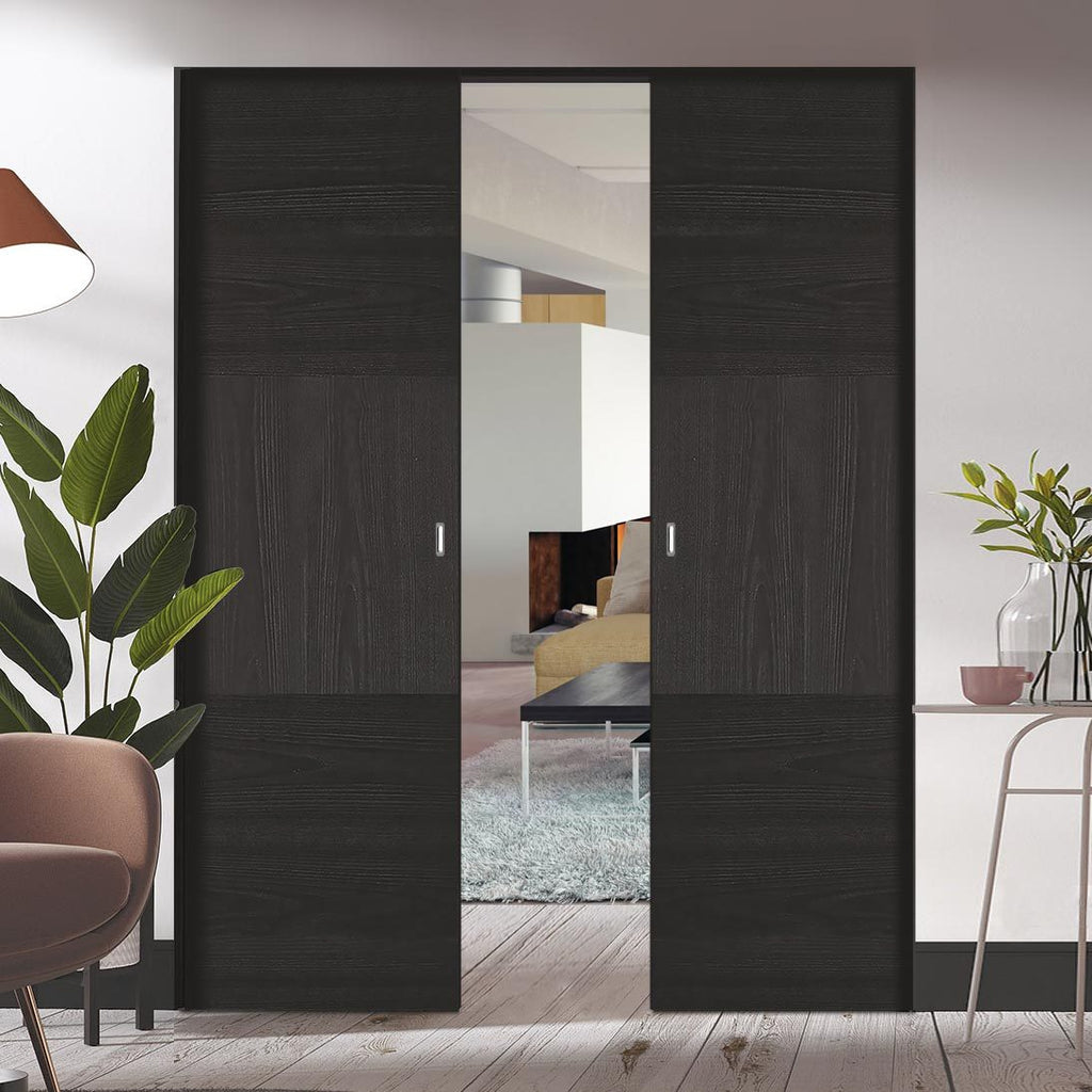 Bespoke Tres Charcoal Black Flush Double Frameless Pocket Door - Prefinished