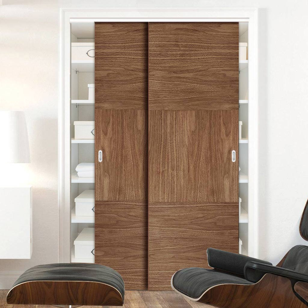 Two Sliding Wardrobe Doors & Frame Kit - Tres Walnut Flush Door - Prefinished