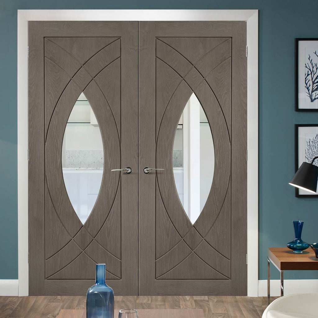 Prefinished Bespoke Treviso Oak Glazed Door Pair - Choose Your Colour