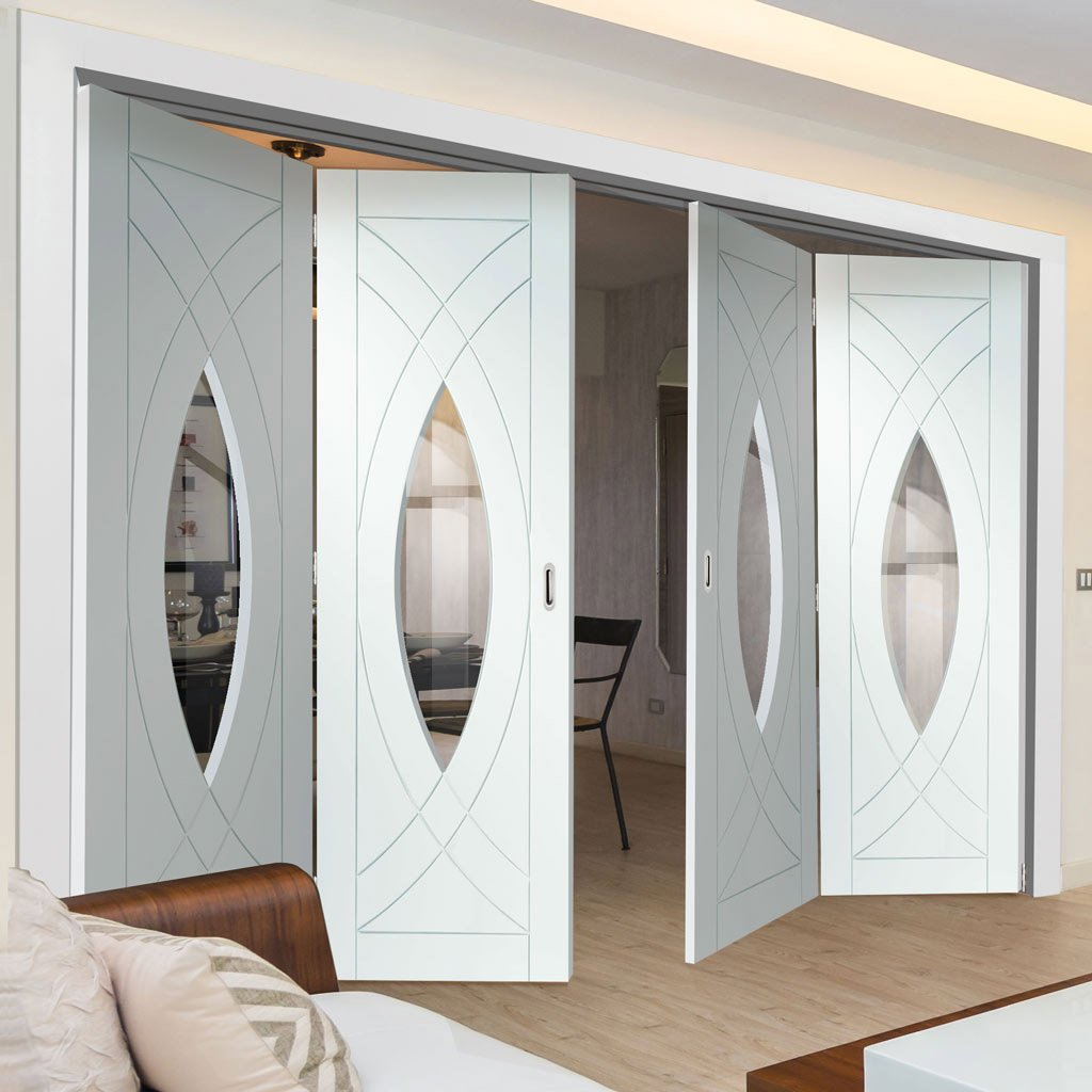 Bespoke Thrufold Treviso White Primed Glazed Folding 2+2 Door