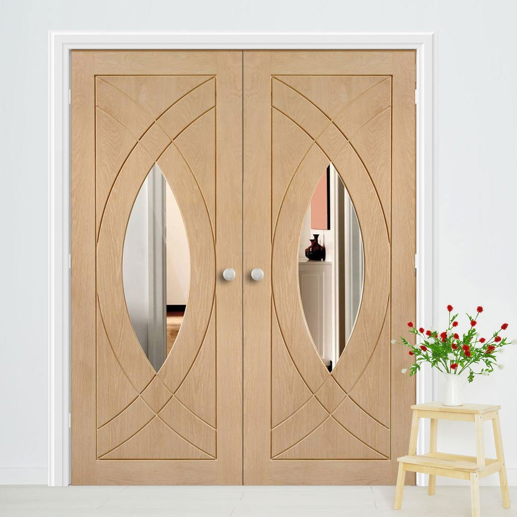 Bespoke Treviso Oak Glazed Door Pair - Prefinished