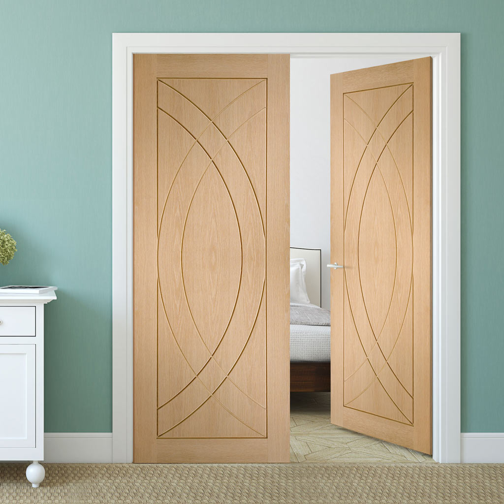 Fire Rated Treviso Flush Oak Door Pair - 1/2 Hour Fire Rated
