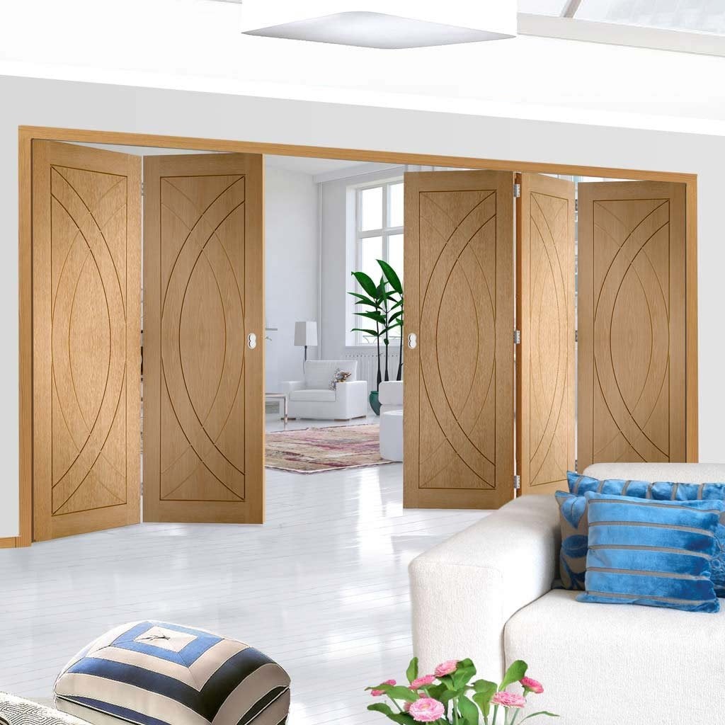 Five Folding Doors & Frame Kit - Treviso Oak Flush 3+2 - Unfinished