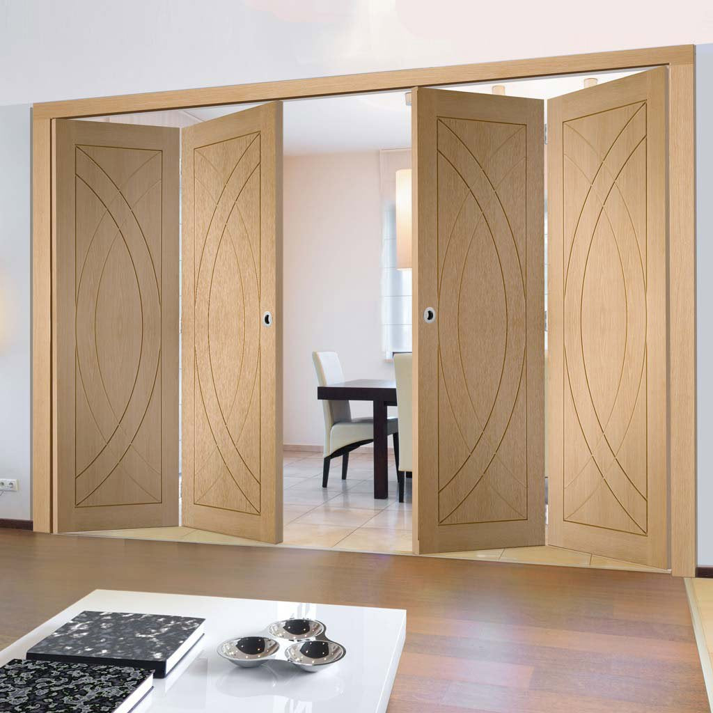 Bespoke Thrufold Treviso Oak Flush Folding 2+2 Door
