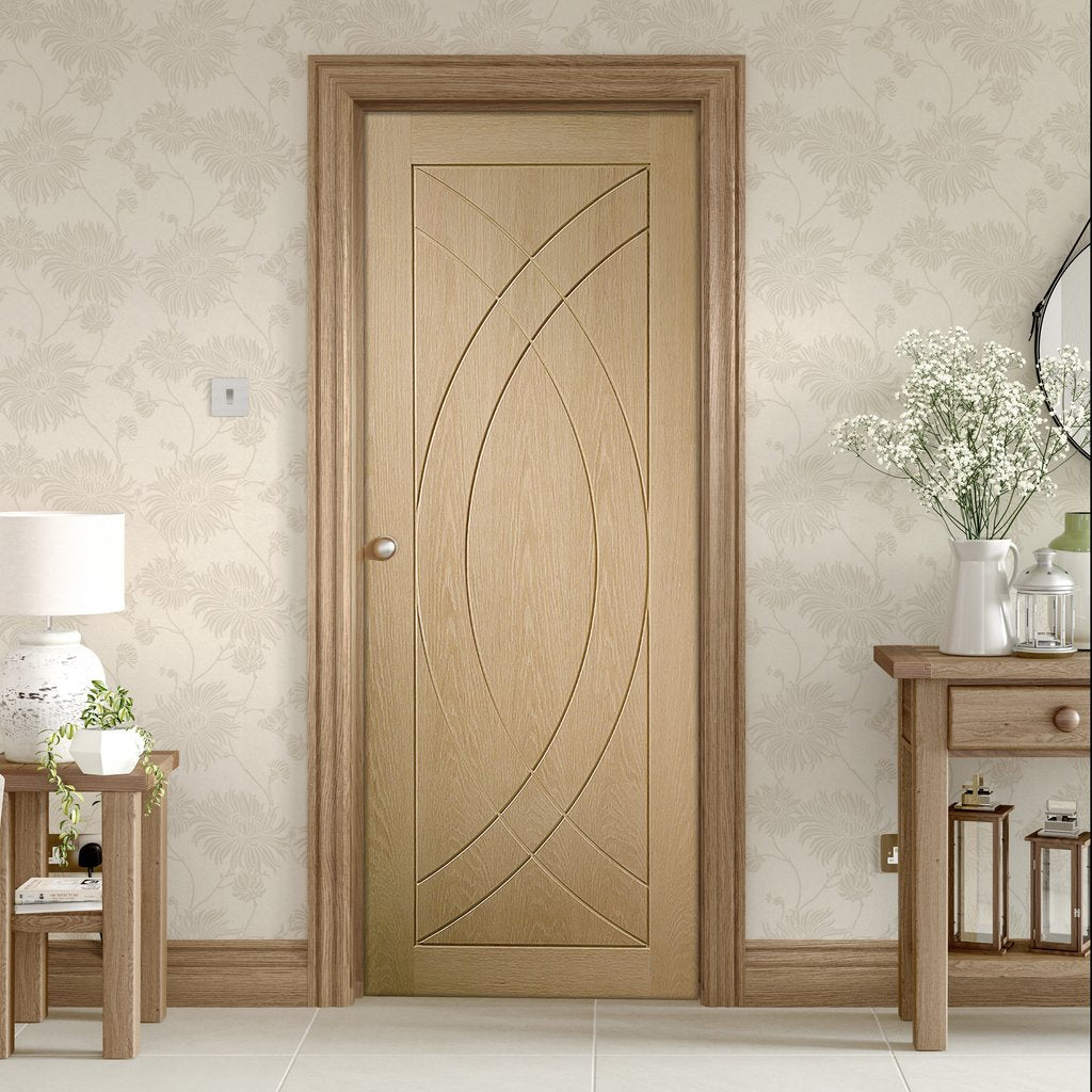 Bespoke Treviso Oak Flush Fire Door - 1/2 Hour Fire Rated