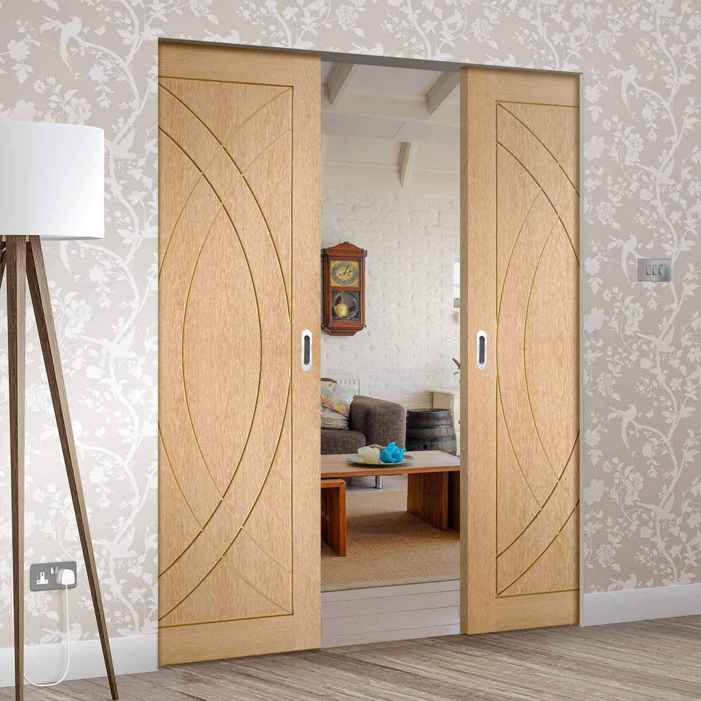 Bespoke Treviso Oak Flush Double Frameless Pocket Door