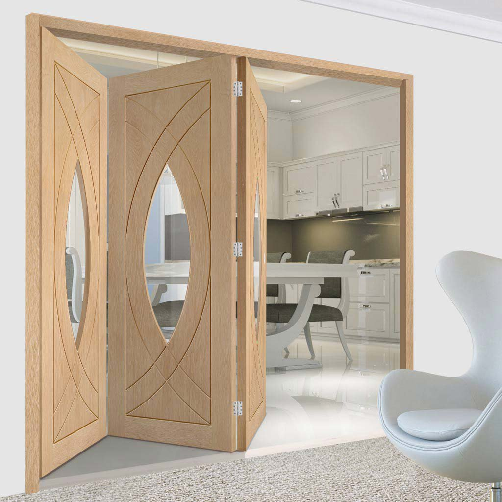 Three Folding Doors & Frame Kit - Treviso Oak 3+0 - Clear Glass - Unfinished