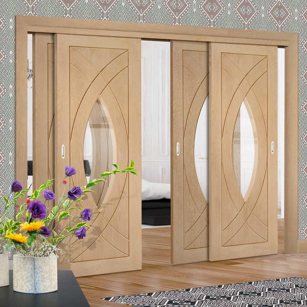 Four Sliding Doors and Frame Kit - Treviso Oak Door - Clear Glass - Prefinished